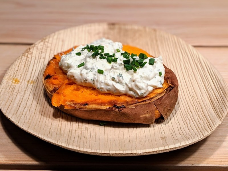 Smashed Smoked Sweet Potato